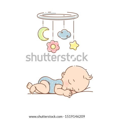 Little baby boy sleep under mobile toy. Boy wear blue pajamas. Newborn baby boy  sleep at night. Bright hanging toy. Colorful vector Illustration isolated on white background.