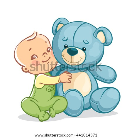 Little baby boy with big toy. One year kid holding  teddy bear. Child  playing with  toy friend. Happy smiling baby sitting, hugging blue teddy bear. Vector illustration isolated on white background. stock photo