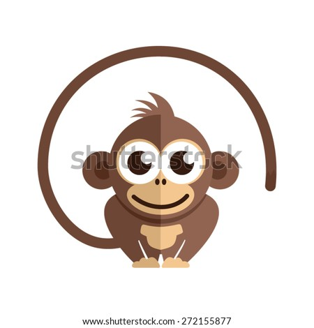 Little baby monkey on the white background