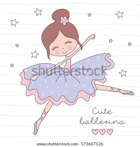 little ballerina girl vector
