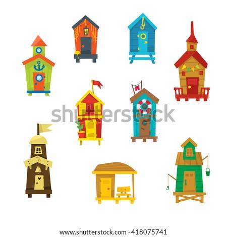 little beach cabins cute set of