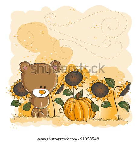 Little bear and pumpkin - Halloween or thanksgiving card - everything grouped for easy use