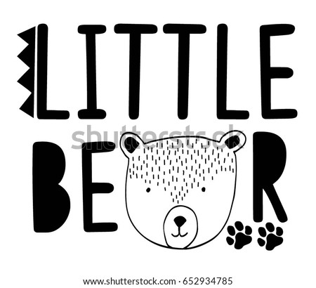 little bear typography vector