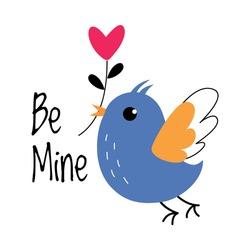 Little Bird Holding Heart Branch in Its Beak as Valentine Day Celebration Vector Illustration