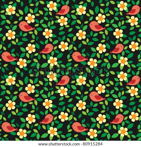 Little birds among flowers and leafs on dark background. Seamless pattern.