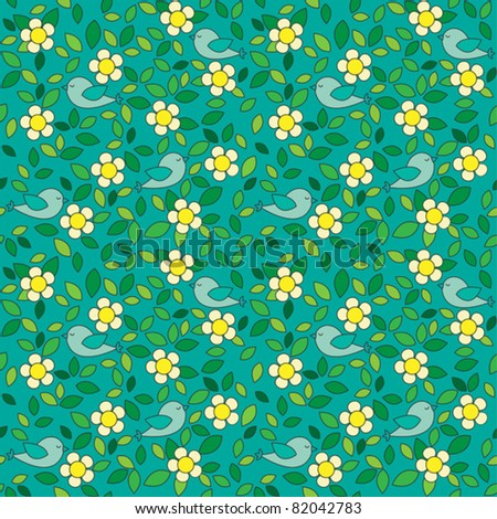 Little birds among flowers and leafs on dark green background. Seamless pattern.