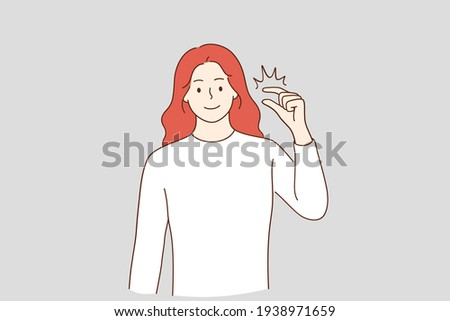 Little bit and small amount concept. Smiling red haired woman cartoon character showing little bit gesture, showing something insignificant vector illustration