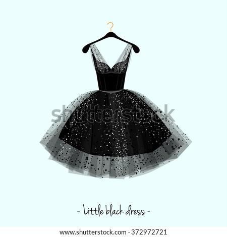 Little black dress. Party dress. Vector watercolor illustration