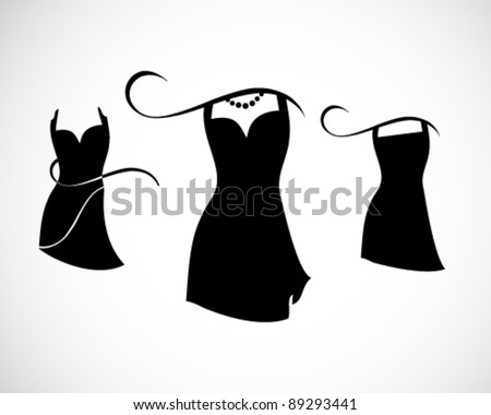little black dresses on white