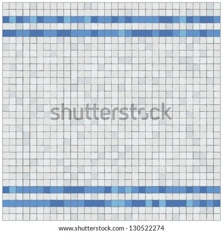 Little blue and withe tiles wall covering. Border.