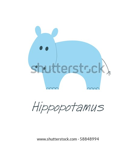 Little blue hippopotamus on white background, element for kid or baby design