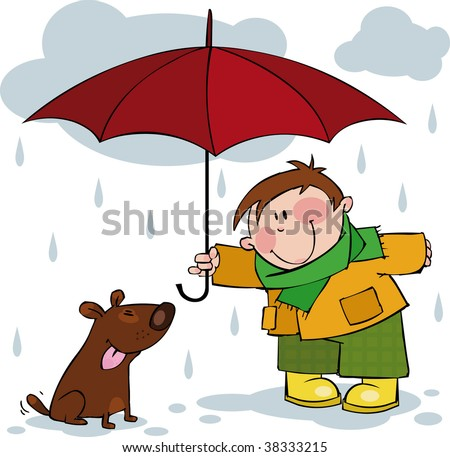 Little boy and a dog walking in the rain