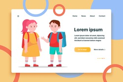 Little boy and girl chatting with each other. Pupil, backpack, school flat vector illustration. Friendship and childhood concept for banner, website design or landing web page