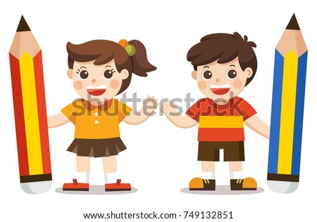 Little Boy and Girl holding big pencil isolated on white background.
