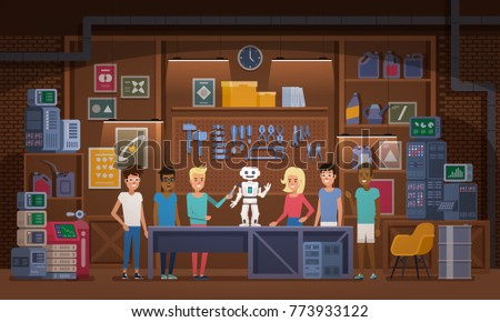 Little boy and his friends working together on robot in garage workshop Multicultural team Artificial Intelligence Technology Concept Vector illustration