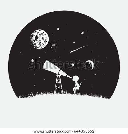 Little boy astronomer looks to through a telescope to space.Astronomy and education theme.Childish vector illustration.Exploration of universe.