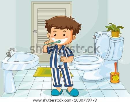 Little boy brushing teeth in toilet illustration