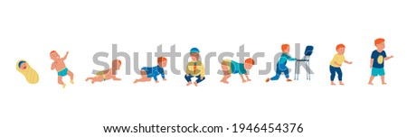 Little boy. Cartoon baby growth steps, toddler growing up evolution. Sequential pediatrician infographic, infancy timeline. Childhood development stages. Vector newborn kid activity Stock photo ©