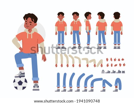 Little Boy Character Constructor for Animation.  Front, Side and Back View. Cute Kid wearing Sporty Clothes in Different Postures. Body Parts Collection. Flat Cartoon Vector Illustration.