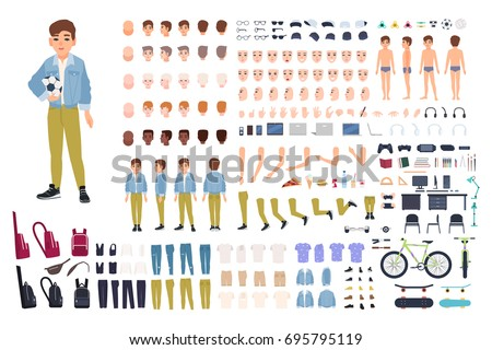 Little boy character constructor. Male child creation set. Different postures, hairstyle, face, legs, hands, clothes, accessories collection. Vector cartoon illustration. Front, side, back view