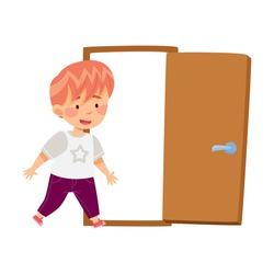 Little Boy Coming Into the Door Vector Illustration