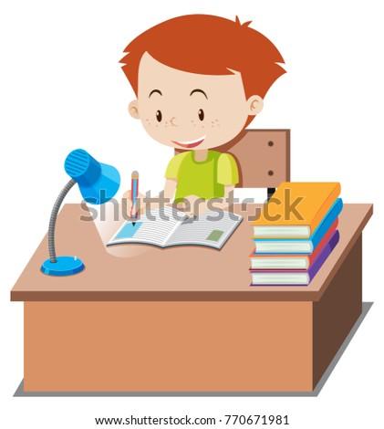 Little boy doing homework on table illustration