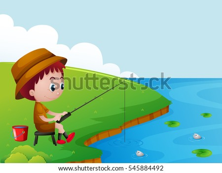 little boy fishing by the river