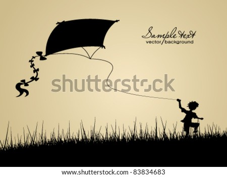 Little boy flying a kite - stock vector