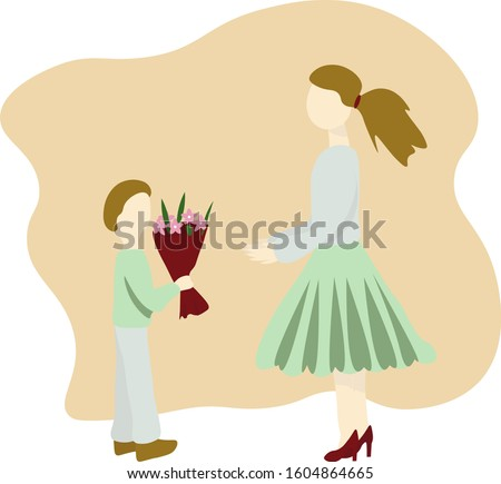 Little boy gives bouquet of flowers to women. Flat vector Illustration. Concept International Women's Day, mothers Day, teacher's Day.