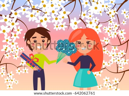 little boy gives redhead girl