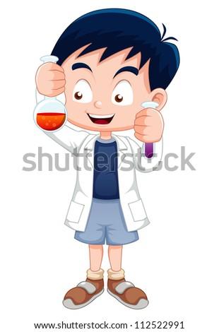 Little boy holding test tube