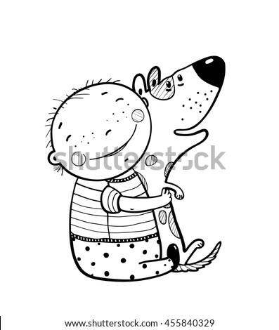 little boy hugs dog best happy