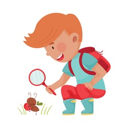 Little Boy Hunkering Down with Magnifying Glass Exploring Ant Crawling on the Ground Vector Illustration
