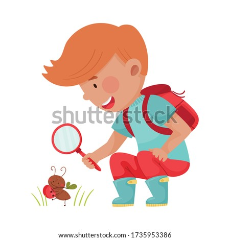 Little Boy Hunkering Down with Magnifying Glass Exploring Ant Crawling on the Ground Vector Illustration Stockfoto ©