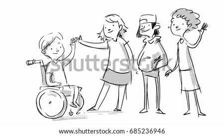 Little boy in a wheelchair. Kid with disabilities greeting people. Social message. Vector sketches