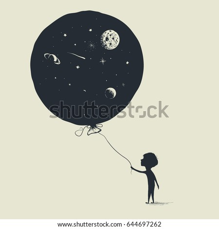 little boy keeps a balloon with