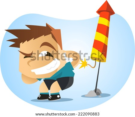 Little boy lighting fireworks illustration