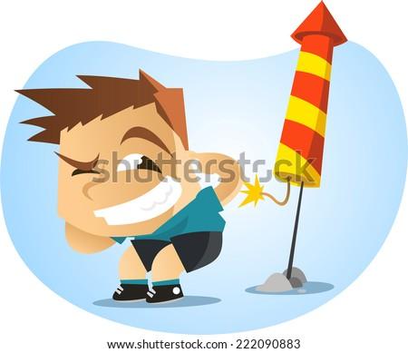 little boy lighting fireworks