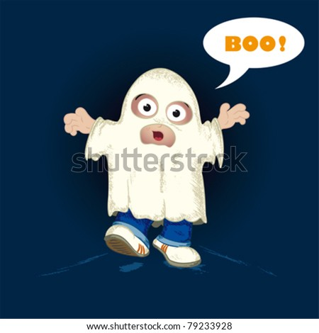 Little boy or girl fancy dressed in a spooky ghost costume saying BOO.Elements are on separate Layers for easy editing.Gradients used in the face the background.