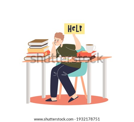 Little boy overwhelmed with homework sitting sad at school desk with books and textbooks. Depressed pupil tired of learning. Cartoon flat vector illustration Foto d'archivio ©