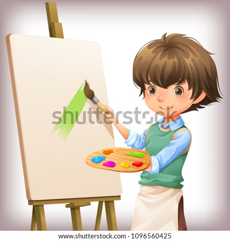 little boy painting character