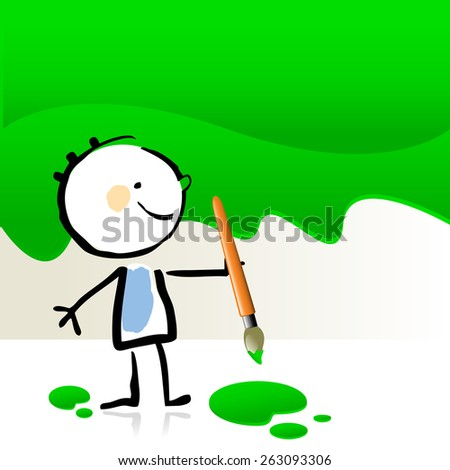 little boy painting with green