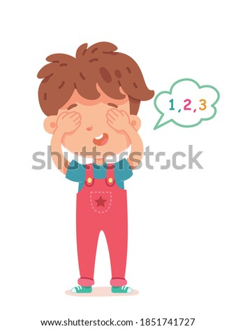 Little boy playing hide and seek, counting with eyes shut. Happy kid standing with bubble with numbers on white background vector illustration. Fun childhood game and cheerful pastime. Stock photo ©