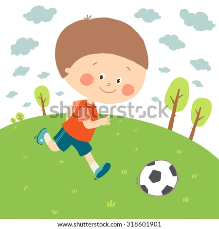 little boy playing soccer on