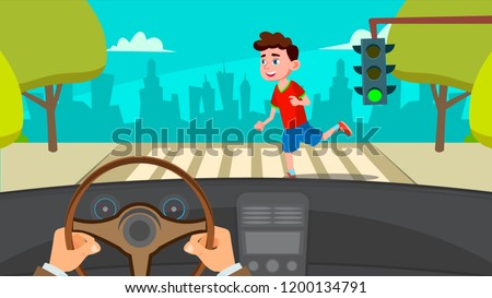 Little Boy Running Across The Road In Front Of The Car A Frightened Driver Vector. Isolated Illustration