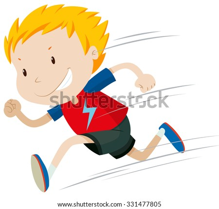 little boy running alone