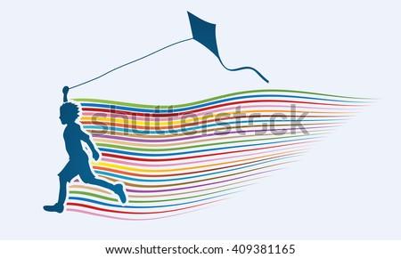 little boy running with kite