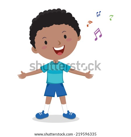 little boy singing cheerful