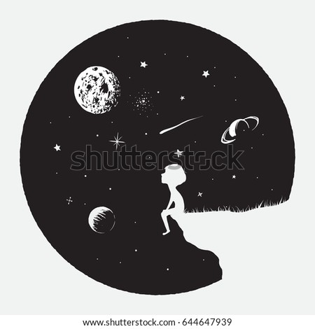 Little boy sits on mountain and looks to full Moon.Astronomy and science theme.Childish vector illustration.Prints design