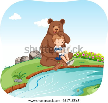 little boy sitting with bear by